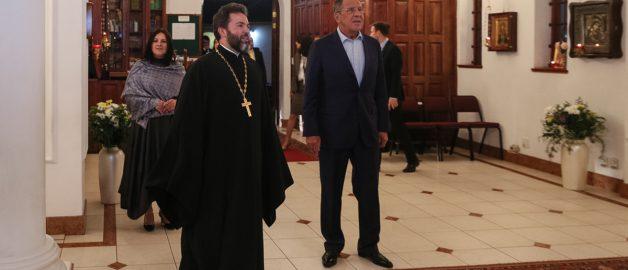 Глава МИД РФ Сергей Лавров посетил храм прп. Сергия Радонежского