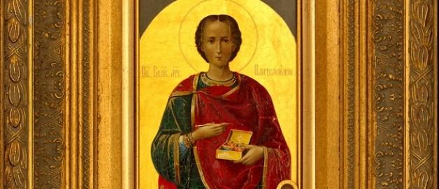 икона святого великомученика Пантелеимона с частицей его мощей