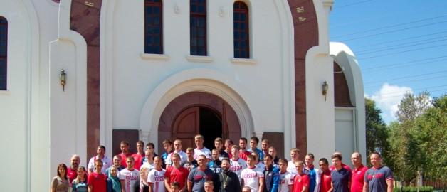 Сборная России по регби посетила храм прп. Сергия Радонежского